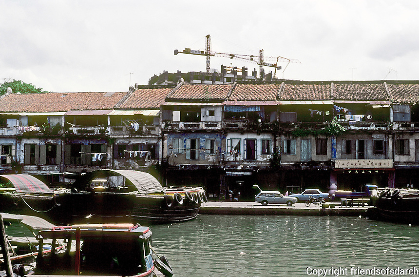 Singapore: Old commercial buildings along river. Photo '83.