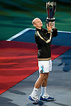 SHANGHAI, CHINA - OCTOBER 18:  Nikolay Davydenko of Russia poses for photographers after defeating Rafael Nadal of Spain during the final on day eight of 2009 Shanghai ATP Masters 1000 at Qi Zhong Tennis Centre on October 18, 2009 in Shanghai China. Photo by Victor Fraile / The Power of Sport Images
