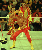 Hulk Hogan Brutus The Barbar Beefcake  Jimmy Hart 1989<br /> Photo By John Barrett/PHOTOlink