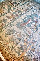 Mosaics of The Small Hunt, no 25 - Roman mosaics at the Villa Romana del Casale which containis the richest, largest and most complex collection of Roman mosaics in the world, circa the first quarter of the 4th century AD. Sicily, Italy. A UNESCO World Heritage Site.