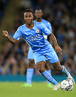 21st September 2021; Etihad Stadium,Manchester, England; EFL Cup Football Manchester City versus Wycombe Wanderers; Raheem Sterling of Manchester City lays the ball off