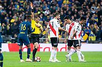 Referee shows red card to Boca Juniors Wilmar Barrios during  Commebol Final Match between River Plate and Boca Juniors at Santiago Bernabeu Stadium in Madrid, Spain. December 09, 2018. (ALTERPHOTOS/Borja B.Hojas) /NortePhoto.com