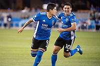 SAN JOSE, CA - MAY 01: Javier Eduardo Lopez #9 of the San Jose Earthquakes celebrated his goal with Cristian Espinoza #10 of the San Jose Earthquakes during a game between San Jose Earthquakes and D.C. United at PayPal Park on May 01, 2021 in San Jose, California.