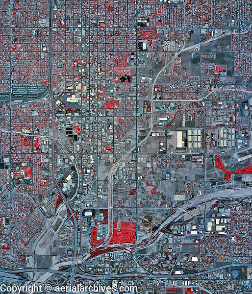 historical infrared aerial photograph of San Bernadino, California, 2002