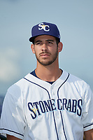 Charlotte Stone Crabs pitcher Brian Shaffer (13) during introductions before a Florida State League game against the Fort Myers Miracle on April 6, 2019 at Charlotte Sports Park in Port Charlotte, Florida.  Fort Myers defeated Charlotte 7-4.  (Mike Janes/Four Seam Images)