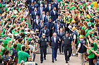 September 1, 2018; ; Head coach Brian Kelly waves to fans as he walks with players to Notre Dame Stadium before the season opener against Michigan. (Photo by Barbara Johnston/University of Notre Dame)
