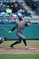 Steven Linkous (7) of the Boise Hawks bats against the Everett AquaSox at Everett Memorial Stadium on July 21, 2017 in Everett, Washington. Boise defeated Everett, 10-4. (Larry Goren/Four Seam Images)