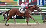 Network Effect  (no. 2) wins Race 6 Aug. 11, 2018 at the Saratoga Race Course, Saratoga Springs, NY.  Ridden by Javier Castellano, and trained by Chad Brown,  Network Effect finished 3 lengths in front of Derby Date (no. 6).  (Bruce Dudek/Eclipse Sportswire)