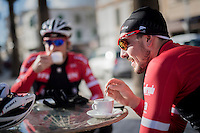 mid ride coffee brake for John Degenkolb (DEU/Trek-Segafredo) & teammates<br /> <br /> Team Trek-Segafredo Training Camp <br /> january 2017, Mallorca/Spain