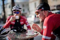 mid ride coffee brake for John Degenkolb (DEU/Trek-Segafredo) & teammates<br /> <br /> Team Trek-Segafredo Training Camp <br /> january 2017, Mallorca/Spain