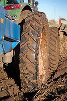 Tractor narrow wheels, harvesting potatoes