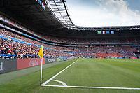 LYON, FRANCE - JULY 07: Corner flag during a game between Netherlands and USWNT at Stade de Lyon on July 07, 2019 in Lyon, France.