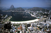 Rio de Janeiro, Brazil. Aerial view of the sugarloaf from Botafogo with the bay and the marina.