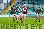Cillian Trant, Crotta O'Neill's in action against Joseph Diggins, Causeway in the Senior Kerry Hurling Championship at Austin Stack Parkon Sunday night.