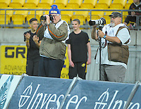 Photographers Pete McDonald and Hugfh Pretorius during the Super Rugby match between the Hurricanes and Highlanders at Westpac Stadium, Wellington, New Zealand on Friday, 27 May 2016. Photo: Dave Lintott / lintottphoto.co.nz