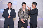 Singer Jay Chou, Ken Chu, and Wang Zhongjun on the Red Carpet event at the World Celebrity Pro-Am 2016 Mission Hills China Golf Tournament on 20 October 2016, in Haikou, China. Photo by Marcio Machado / Power Sport Images