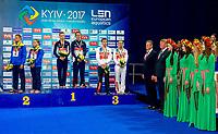 (L to R) Ukraina Gorshkovozov-Kesar silver medal; France Marino-Rosset Gold medal;  Russia Minibaev-Bazhina Bronze medal<br /> Team Event<br /> LEN European Diving Championships 2017<br /> Sport Center LIKO, Kiev UKR<br /> Jun 12 - 18, 2017<br /> Day00 11-06-2017<br /> Photo © Giorgio Scala/Deepbluemedia/Insidefoto