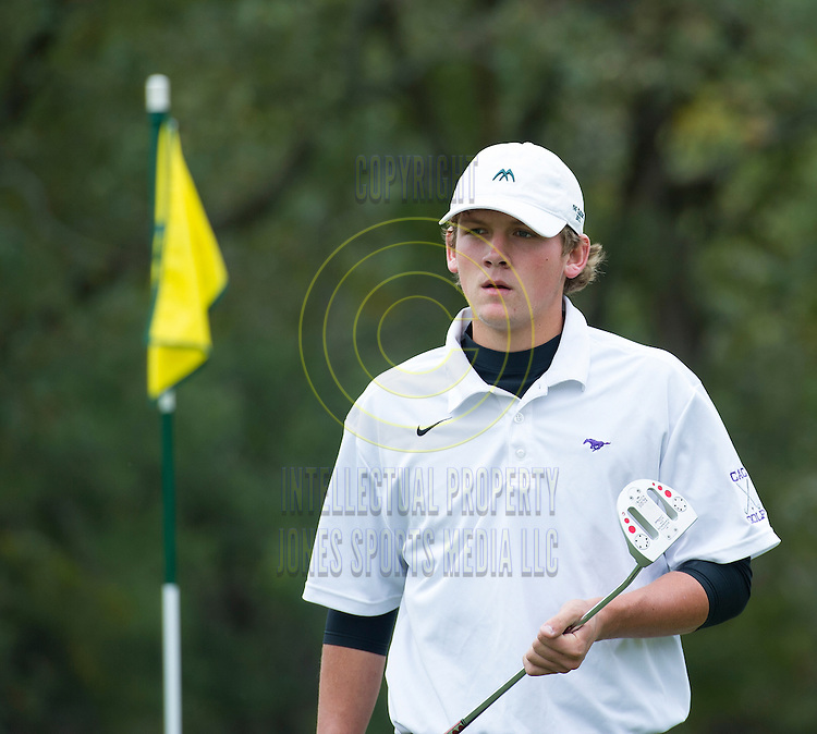 Landon Hearnes of Central Arkansas Christian during the Arkansas State Golf Association Boys High School Overall Championship at Pleasant Valley Country Club Thursday morning in Little Rock. Hearnes shot a 72 to win the overall championship. ..Special to the Democrat-Gazette/JIMMY JONES