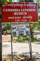 Cambodia.  Landmine Museum Sign, also Showing Name in Khmer Alphabet.