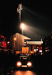 Baseball Ground, Derby c1996. The ground under floodlights as a car drives away.<br /> (Exact date tbc). Photo by Tony Davis