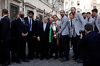 Matteo Berrettino. Giorgio Chiellini, Mario Draghi, Roberto Mancini and Leonardo Bonucci with the cup during the visit of the Italian National team at Palazzo Chigi, where the athletes met the Italian Premier after winning the UEFA Euro 2020 cup.<br /> Rome (Italy), July 12th 2021<br /> Photo Samantha Zucchi Insidefoto