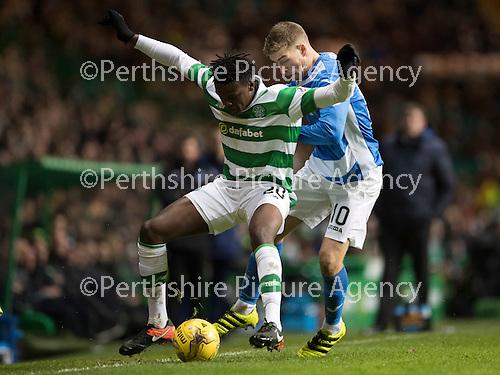 Celtic v St Johnstone…25.01.17     SPFL    Celtic Park<br />Dedryck Boyata holds off David Wotherspoon<br />Picture by Graeme Hart.<br />Copyright Perthshire Picture Agency<br />Tel: 01738 623350  Mobile: 07990 594431