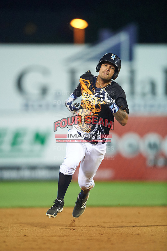 Wilmington Blue Rocks shortstop Humberto Arteaga (23) running the bases during a game against the Lynchburg Hillcats on June 3, 2016 at Judy Johnson Field at Daniel S. Frawley Stadium in Wilmington, Delaware.  Lynchburg defeated Wilmington 16-11 in ten innings.  (Mike Janes/Four Seam Images)