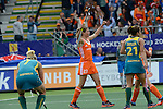 The Hague, Netherlands, June 14: Kim Lammers #23 of The Netherlands celebrates after scoring a field goal to give The Netherlands a 2-0 lead during the field hockey gold medal match (Women) between Australia and The Netherlands on June 14, 2014 during the World Cup 2014 at Kyocera Stadium in The Hague, Netherlands. Final score 2-0 (2-0)  (Photo by Dirk Markgraf / www.265-images.com) *** Local caption ***