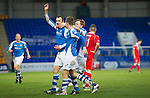 St Johnstone v Ross County...17.11.12      SPL.Dave Mackay celebrates his goal with Steven MacLean and Liam Craig.Picture by Graeme Hart..Copyright Perthshire Picture Agency.Tel: 01738 623350  Mobile: 07990 594431