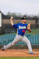 Matt Shelton #43 of the Rancho Cucamonga Quakes pitches against the Lancaster JetHawks at The Hanger on August 26, 2013 in Lancaster, California. Rancho Cucamonga defeated Lancaster, 4-1. (Larry Goren/Four Seam Images)