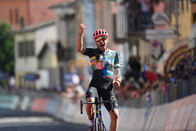 Alberto Bettiol (ITA) EF Education-Nippo from the breakaway wins Stage 18 of the 2021 Giro d'Italia, running 231km from Rovereto to Stradella, Italy. 27th May 2021.  <br /> Picture: LaPresse/Gian Mattia D'Alberto | Cyclefile<br /> <br /> All photos usage must carry mandatory copyright credit (© Cyclefile | LaPresse/Gian Mattia D'Alberto)
