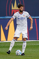 CHICAGO, UNITED STATES - AUGUST 25: Mathieu Deplagne #17 of FC Cincinnati dribbles the ball during a game between FC Cincinnati and Chicago Fire at Soldier Field on August 25, 2020 in Chicago, Illinois.