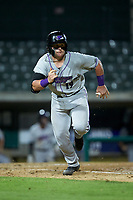 Evan Skoug (19) of the Winston-Salem Dash hustles down the first base line against the Myrtle Beach Pelicans at TicketReturn.com Field on May 16, 2019 in Myrtle Beach, South Carolina. The Dash defeated the Pelicans 6-0. (Brian Westerholt/Four Seam Images)