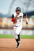Quad Cities River Bandits shortstop Kristian Trompiz (3) running the bases during a game against the Bowling Green Hot Rods on July 24, 2016 at Modern Woodmen Park in Davenport, Iowa.  Quad Cities defeated Bowling Green 6-5.  (Mike Janes/Four Seam Images)