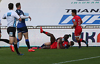 9th September 2020; AJ Bell Stadium, Salford, Lancashire, England; English Premiership Rugby, Sale Sharks versus Saracens;  Rotimi Segun of Saracens scores their first try to make the score 7-5 to Sale