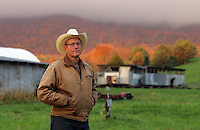 Joel Salatin poses at his Polyface Farm where he raises chickens and cows October 20, 2006 in Staunton, Va. ...Photo by Andrew B. Shurtleff, Freelance. farmer