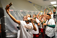 Orlando, FL - Saturday October 14, 2017:  Nadia Nadim, Portland Thorns FC celebrate their National Women's Soccer League (NWSL) Championship win by defeating North Carolina Courage 1-0 during the NWSL Championship match between the North Carolina Courage and the Portland Thorns FC at Orlando City Stadium.