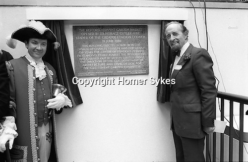 Opening of the new Covent Garden Piazza London, by Sir Horace Cutler leader of the GLC Greater London Council 19 June 1980.