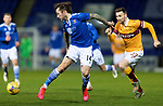 St Johnstone v Motherwell…21.11.20   McDiarmid Park      SPFL<br />Stevie May is closed down by Stephen O'Donnell<br />Picture by Graeme Hart.<br />Copyright Perthshire Picture Agency<br />Tel: 01738 623350  Mobile: 07990 594431
