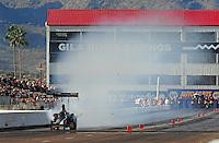 Jan 24, 2009; Chandler, AZ, USA; NHRA top fuel dragster driver Troy Buff blows an engine during testing at the National Time Trials at Firebird International Raceway. Mandatory Credit: Mark J. Rebilas-