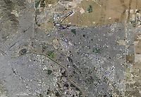 aerial photo map view of Ciudad Juárez, Chihuahua, Mexico and El Paso metropolitan area, 2007.  For more recent aerial maps, please contact Aerial Archives directly.