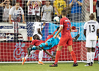 KANSAS CITY, KS - JUNE 26: Jozy Altidore #17 scores the USA'a goal with a bicycle kick during a game between United States and Panama at Children's Mercy Park on June 26, 2019 in Kansas City, Kansas.