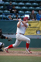 Ben Miller (44) of the Nebraska Cornhuskers bats against the Long Beach State Dirtbags in the second game of a doubleheader at Blair Field on March 5, 2016 in Long Beach, California. Long Beach State defeated Nebraska, 3-1. (Larry Goren/Four Seam Images)
