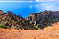 The Nu'alolo Valley as seen from the Nu'alolo Trail along the Na Pali Coast, Kaua'i.