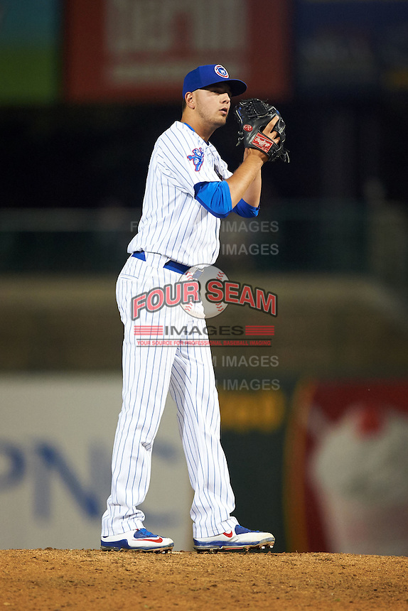 South Bend Cubs pitcher Jordan Minch (3) delivers a pitch during a game against the Cedar Rapids Kernels on June 5, 2015 at Four Winds Field in South Bend, Indiana.  South Bend defeated Cedar Rapids 9-4.  (Mike Janes/Four Seam Images)