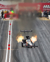 Feb 21, 2020; Chandler, Arizona, USA; NHRA top fuel driver Terry McMillen during qualifying for the Arizona Nationals at Wild Horse Pass Motorsports Park. Mandatory Credit: Mark J. Rebilas-USA TODAY Sports
