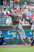 Lehigh Valley IronPigs third baseman Mitch Walding (10) throws to first base during a game against the Rochester Red Wings on June 29, 2018 at Frontier Field in Rochester, New York.  Lehigh Valley defeated Rochester 2-1.  (Mike Janes/Four Seam Images)