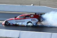 Feb 8, 2014; Pomona, CA, USA; NHRA funny car driver Tony Pedregon during qualifying for the Winternationals at Auto Club Raceway at Pomona. Mandatory Credit: Mark J. Rebilas-