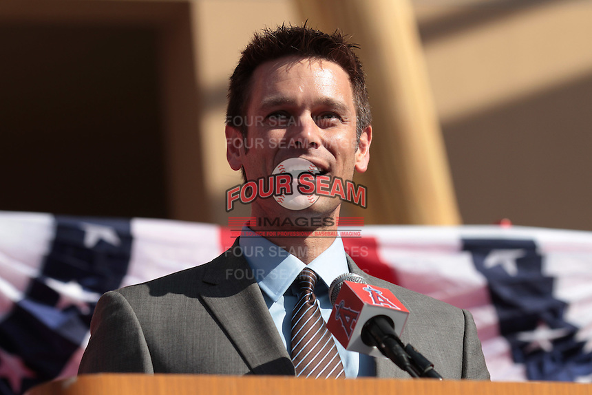 Los Angeles Angels General Manager Jerry Dipoto at press conference introducing Albert Pujols as a new member of the Angels at Angel Stadium on December 10, 2011 in Anaheim,California.(Larry Goren/Four Seam Images)