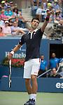 Novak Djokovic (SRB) defeats Andreas Seppi (ITA) 6-3, 7-5, 7-5 at the US Open in Flushing, NY on September 4, 2015.